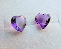 1.20ct PAIR OF AMETHYST HEARTS FROM AFRICA