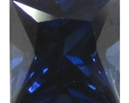 0.59 ct Rich Royal Blue Princess Cut Blue Sapphire