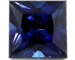 0.59 ct Rich Royal Blue Princess Cut Blue Sapphire
