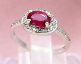 Ruby 2.19g Madagascar Red Ruby 925 Sterling Silver Ring E1903