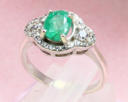 Emerald 2.81g Natural Vivid Green Emerald 925 Sterling Silver Ring E1906