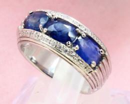 Blue Sapphire 5.10g Ceylon Blue Sapphire 925 Sterling Silver Ring E1910