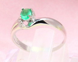 Emerald 1.00g Natural Vivid Green Emerald 925 Sterling Silver Ring E1911