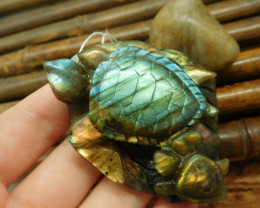 Natural Gemstone Labradorite Carving Sea Turtle Pendant Bead Jewelry For An