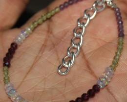 16 Crt Natural Welo Opal Garnet Peridot & Amethyst Beads Bracelet 121