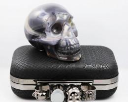 Crystal Jasper Skull with Bonus Skull Purse   WS 1001