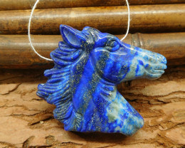 Lapis lazuli carving horse pendant animal craft bead natural gemstone carvi