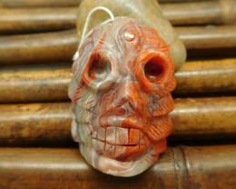 New design gemstone  crazy lace rosetta carving skull pendant bead (G0006)