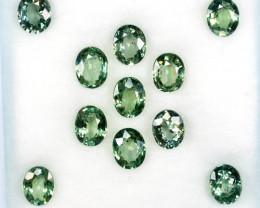 5.69 Cts Natural Green Sapphire 5x4 mm Oval Cut 11 Pcs Madagascar