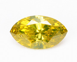Delightful 0.17Ct Natural Canary Yellow Diamond marquise