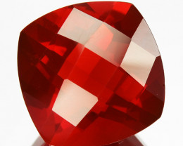 Glorious 0.95Ct Natural Red Fire Opal Mexico Cushion Checker board