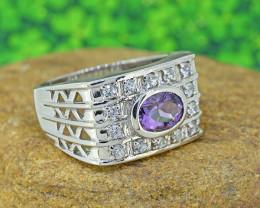 Natural Amethyst 925 Sterling Silver Mens' Ring (SSR0190)