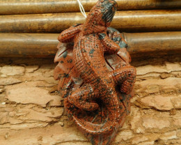 New design carving lizard pendant bead wholesale stone carving animal bead(