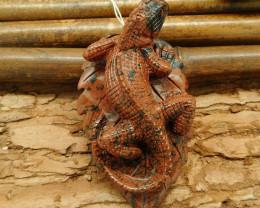 New design carving lizard pendant bead wholesale stone carving animal bead(