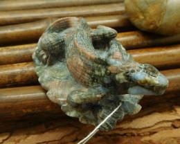 Stone carved crinoid fosiil animal bead lizard decoration  (G0015)
