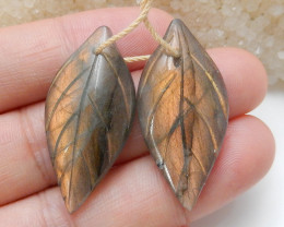Beautiful Gemstone Labradorite carved leaf shaped earrings beads C165