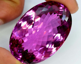 139.25 Carats Natural Oval Cut Redish Pink Deep Color Kunzite Gemstone