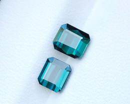 2.10 Ct Natural Blueish Green Transparent Tourmaline Gemstones Pairs