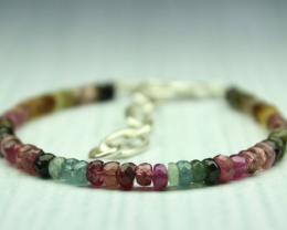 23 Crt Natural multi tourmaline Rondelle Beads bracelet