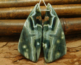 Ocean jasper triangle matched earring pairs cabochon pairs (G0022)