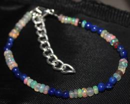 20 Crt Natural Ethiopian Welo Opal & Lapis Lazuli Beads Bracelet 128