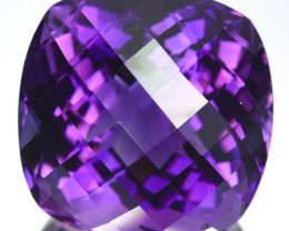 34.94 Cts Natural Purple Amethyst Cushion (Checkerboard Cut) Bolivia