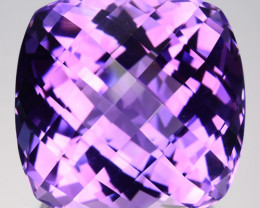 45.48 Cts Natural Purple Amethyst Cushion (Checkerboard Cut) Bolivia