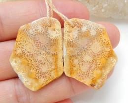Sale Indonesia's coral Earrings ,Handmade Gemstone ,Nugget Coral Earrings C