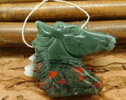 New design carving african bloodstone horse head pendant necklace jewelry (