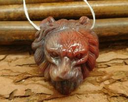 Wholesale fancy agate carving lion bead pendant boho animal necklace (G0028