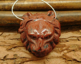 Mahogony obsidian carved lion pendant gemstone animal carving bead (G0029)