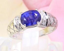 Blue Sapphire 3.90g Blue Sapphire 925 Sterling Silver Ring E2101