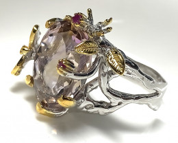 Fabulous Ametrine Ruby Gold and Silver Ring Size 8 Gorgeous Dragonfly