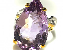 Fabulous Ametrine Gold and Silver Ring Size 7.5 Gorgeous