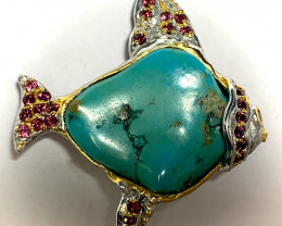 Fish of Life - 14kt Gold over Sterling Silver Brooch Garnet Turquoise