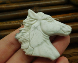 Howlite horse head pendant gemstone carving animal bead (G0045)