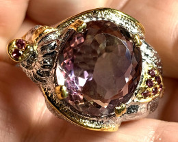 Regal Elephant Ametrine, Rhodolite Ring Size 10 .925 Sterling Silver with 1