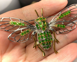 Stunning Bee Chrome Diopside Emerald Sterling Silver Brooch for adorning