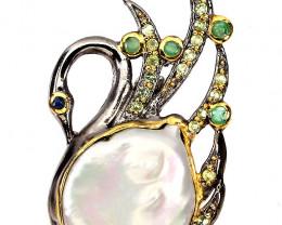'Bejewelled Swan' Pearl Emerald Peridot Sapphire Brooch
