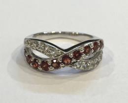 Garnet 925 Sterling silver ring #9517