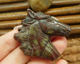Dragon bloodstone horse head pendant bead horse craft decoration (G0048)