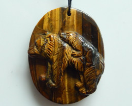 Hand Carved Amazing Gold Tiger Eyes Bear Pendant Bead ,Wholesale Jewelry C2