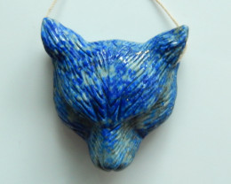 Hand Carved Amazing Cat Head Pendant Natural Lapis ,Wholesale Jewelry C243