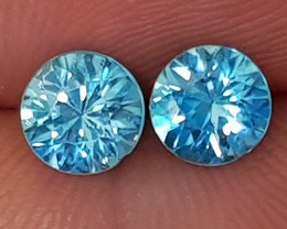 2.17cts Blue Zircon Pair, Calibrated