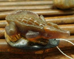 Fancy agate carving animal pendant gemstone craft crocodile pendant (G0058)