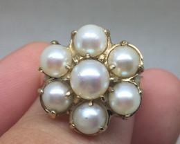 B(13) Superb $1300 Nat Multi- Cultured Pearl Ring 10K YG 4.7gr