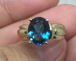 (B14) Stunning $1500 Nat. 2.50ct London Blue Topaz 10K YG Ring