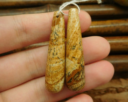 Natural gemstone picture jasper earring bead pendant set for jewelry making
