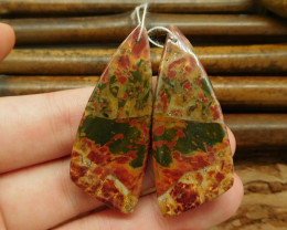 Multi-color picasso jasper red creek triangle earring bead wholesale gemsto