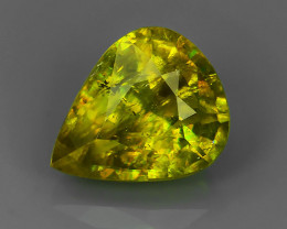 2.71 CTS AMAZING RAREST ! TOP FIRE NATURAL PEAR GREENISH-YELLOW COLOR SPHEN